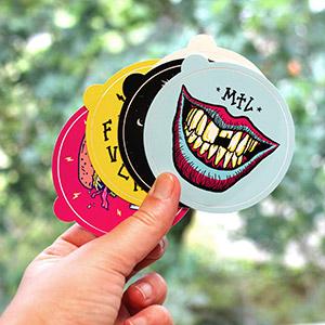 Stickers Vinyle Blanc Brillant rond, massicotés à l'unité
